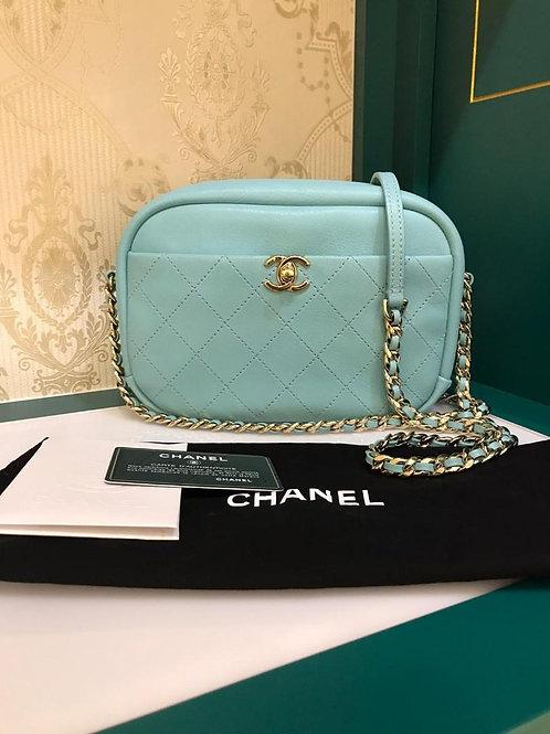 #26 Like New Chanel Camera Case Light Blue Lamb grained light GHW