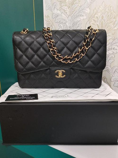 #22 LNIB Chanel Jumbo Classic Double Flap Black caviar GHW