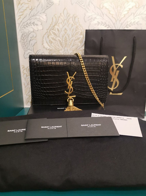 Almost New YSL WOC Small with Tassel in Embossed Crocodile Shiny Leather Black w