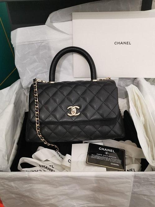 #30 BNIB Chanel Coco Handle Small Black Caviar with light GHW