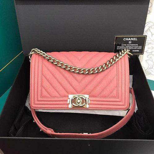 #28 LNIB Chanel Boy Chevron Pink Caviar Light GHW