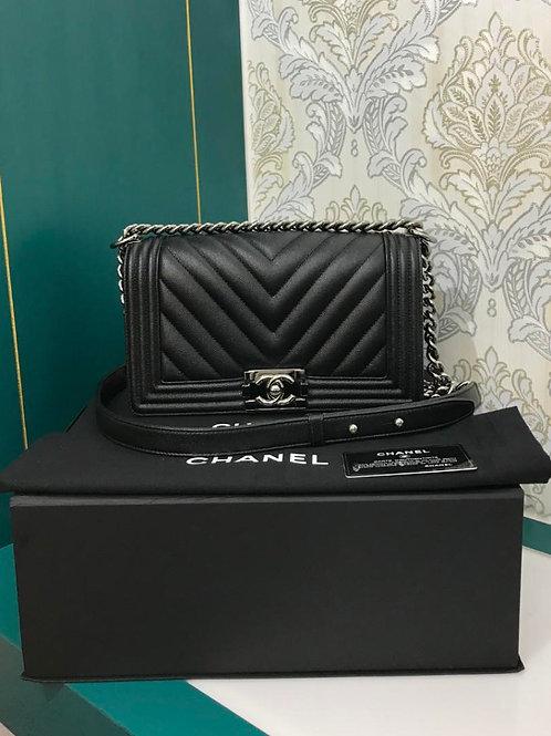 #25 Almost New Chanel Boy Old Medium Chevron Black Caviar with SHW