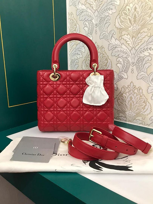 Brand New Lady Dior Red Medium Lamb with GHW