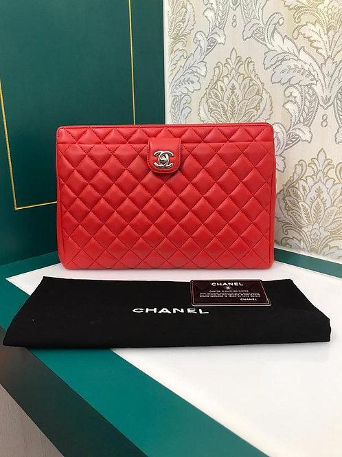 #22 Like New Chanel Clutch Bag Red Lamb shw