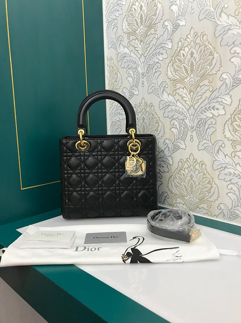 Brand New Lady Dior Medium Black Lamb with GHW