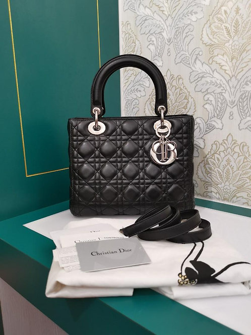 Almost New Lady Dior Black Medium Lamb with SHW