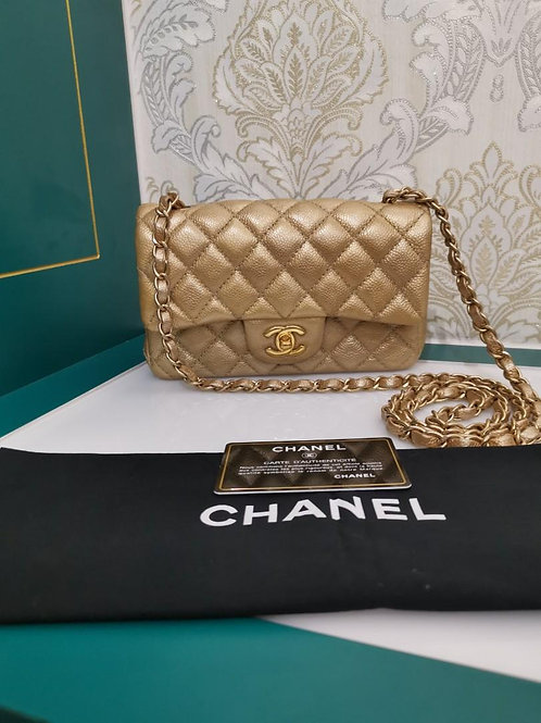 #20 Like New Chanel Mini Rectangular Gold Caviar with GHW