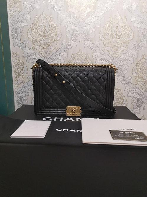 #27 BNIB Chanel Boy New Medium/Large Black Caviar with GHW