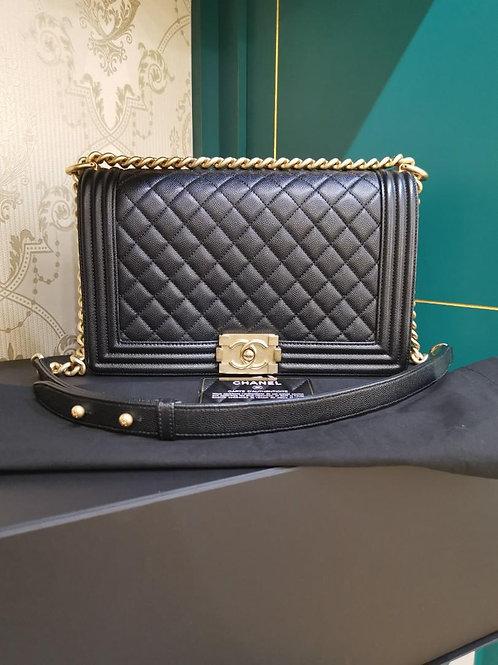 #25 LNIB Chanel Boy New Medium Black Caviar GHW