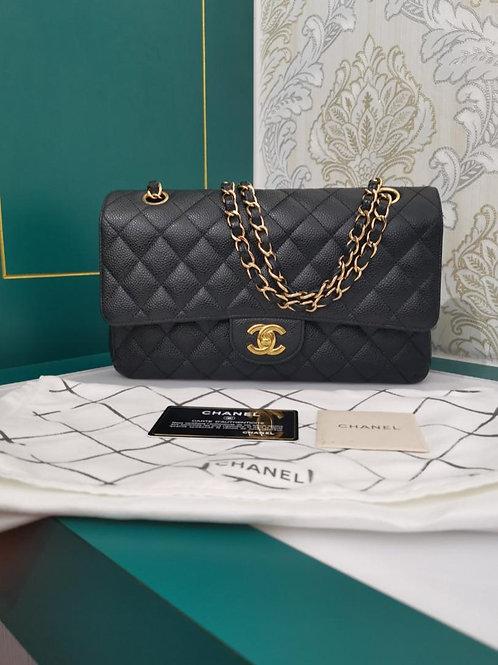 #15 Chanel Medium Classic Double Flap Black caviar GHW