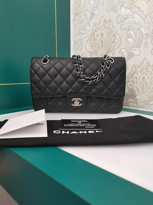 #13 Chanel Medium Classic Double Flap Black Caviar SHW