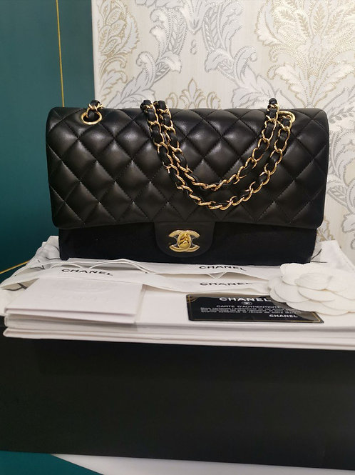 #24 BNIB Chanel Classic Double Flap Medium Black Lambskin with GHW