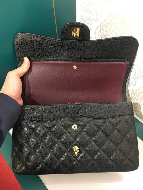 2e800188bad0 Like New Chanel Jumbo Classic Double Flap Caviar Black with GHW. SKU:  FE190060. 9.5/10, overall in very good condition. Leather is very puffy and  stiff.