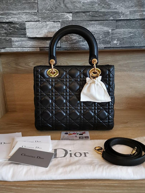 Brand New Lady Dior Medium Black with GHW