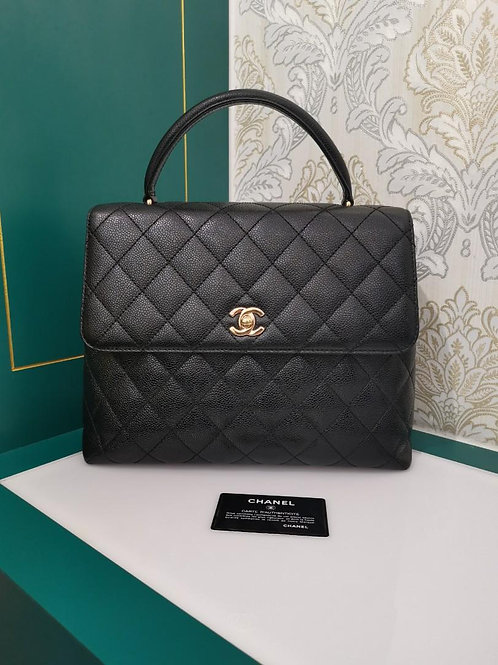 #7 Chanel Vintage Jumbo Kelly caviar black GHW