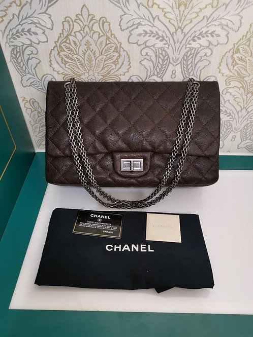#14 Excellent Chanel 2.55 Reissue 227 Brown Caviar with RHW