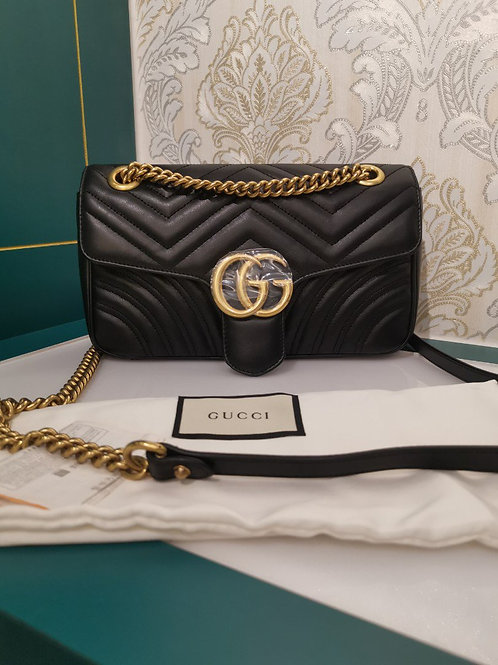 Brand New Gucci Marmont Medium Black Calf with GHW