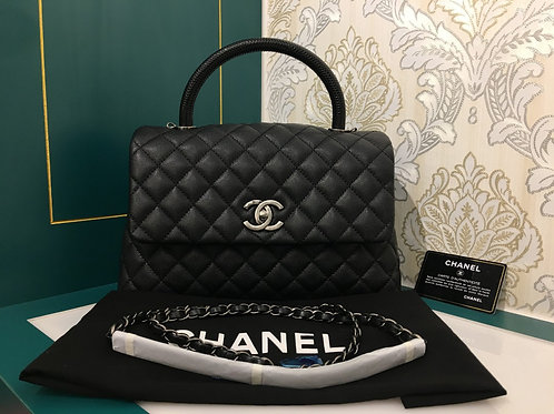 #23 Brand new Chanel Coco Handle with lizard Handle Black Caviar with RHW