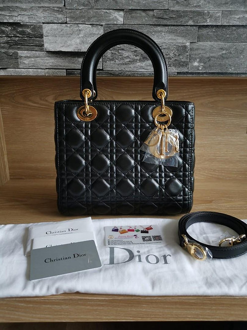 Brand New Lady Dior Medium Black Lamb with GHW