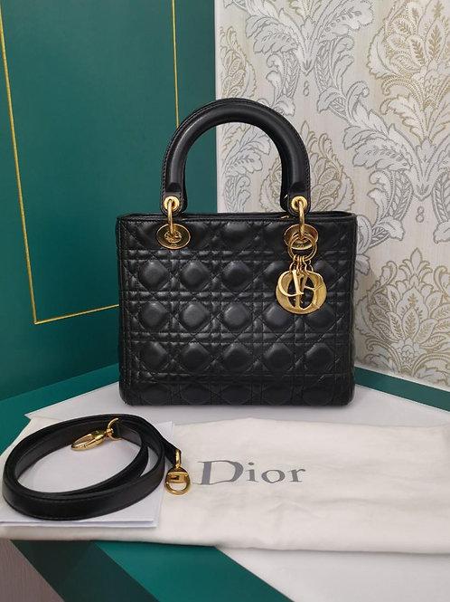 Lady Dior Medium Black Lamb with GHW