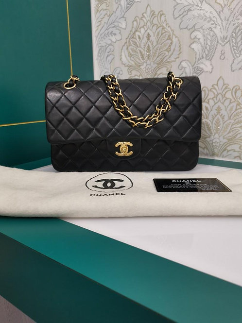 #8 Chanel Medium Classic Double Flap Black Lamb with 24K GHW