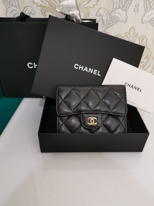 #27 BNIB Chanel Small Flap Wallet Black Caviar with GHW