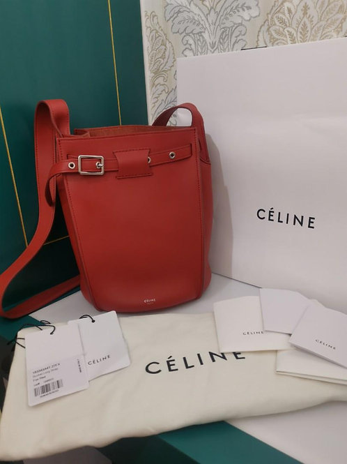 Celine Big bucket bag long strap Red Calf