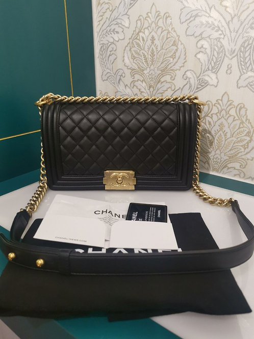 #23 Brand New Chanel Boy Old Medium Black Lambskin with GHW