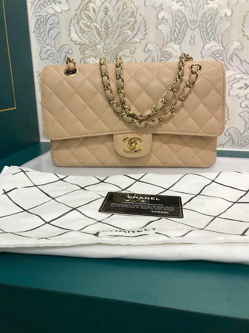 #13 Almost New Chanel Medium Classic Double Flap Caviar Beige with GHW
