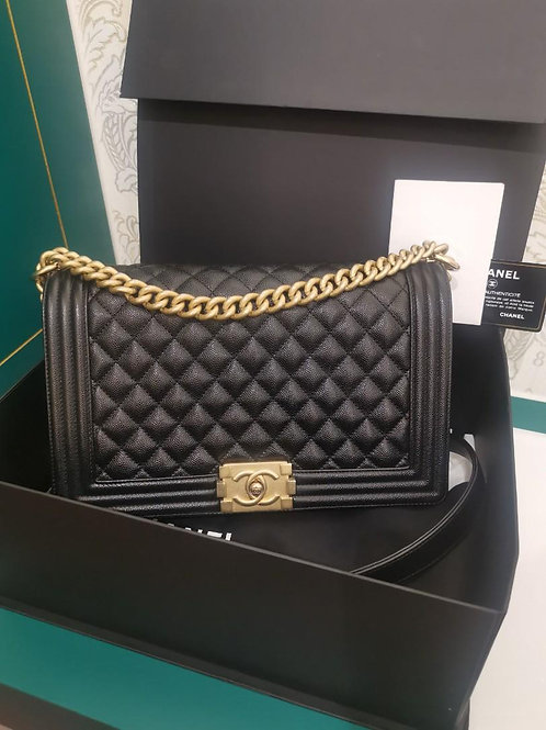 #27 LNIB Chanel Boy New Medium Black Caviar with aged GHW