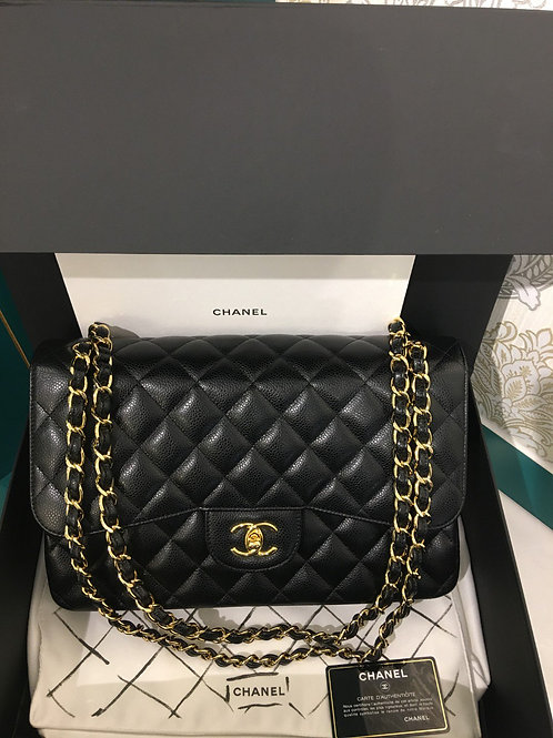 #19 BNIB Chanel Jumbo Classic Double Flap Black Caviar with GHW