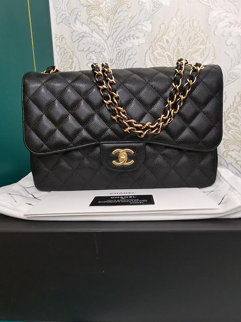 #24 BNIB Chanel Jumbo Classic Double Flap Black Caviar with GHW