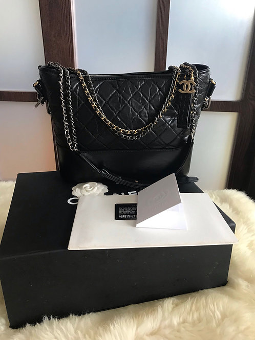 Almost New #23 Chanel Gabrielle Medium Hobo Bag Black With 3 HW
