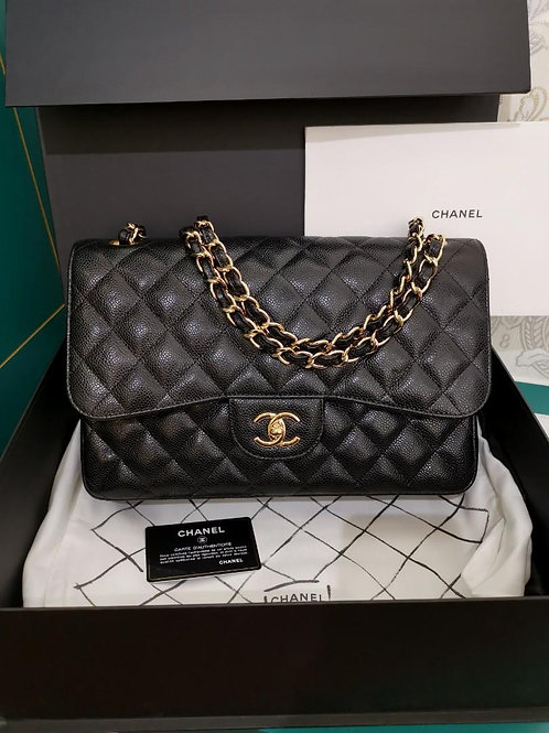 #20 BNIB Chanel Jumbo Classic Double Flap Black Caviar with GHW
