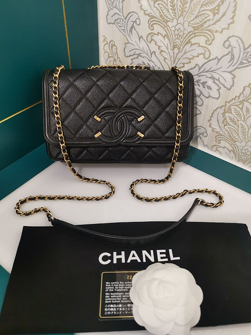 Chanel CC Filigree Flap Small Black Caviar with GHW