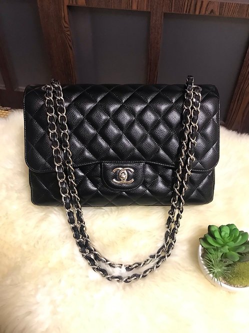 Chanel Jumbo Classic Double Flap Caviar Black With Ghw