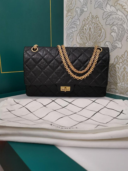#14 Like New Chanel 2.55 Reissue 226 Black Distressed Calf with GHW