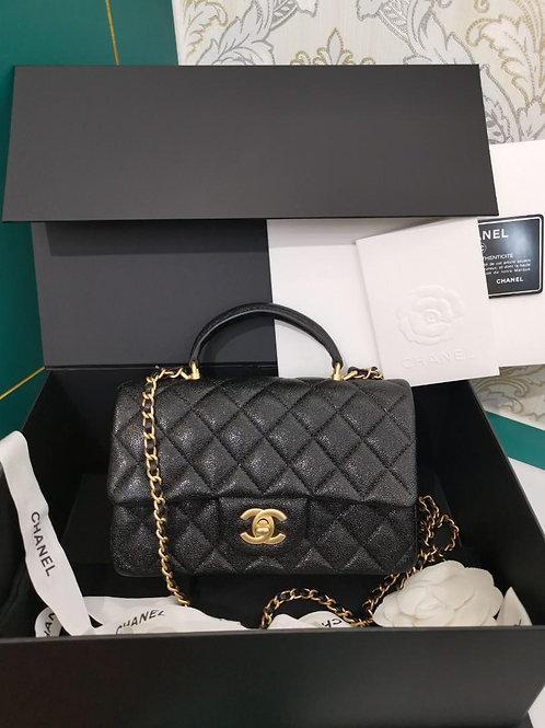 #31 BNIB Chanel Mini Top Handle Black Caviar GHW