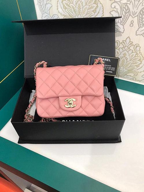 #24 LNIB Chanel Mini Square Classic Flap Pink Lamb with Light GHW