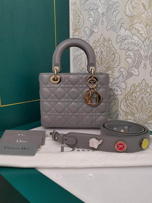 Almost New My ABCDior Lady Dior Small Grey Lamb with light GHW
