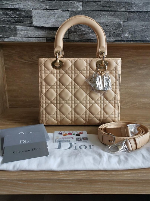 Brand New Lady Dior Medium Beige/light milk tea Lamb with GHW
