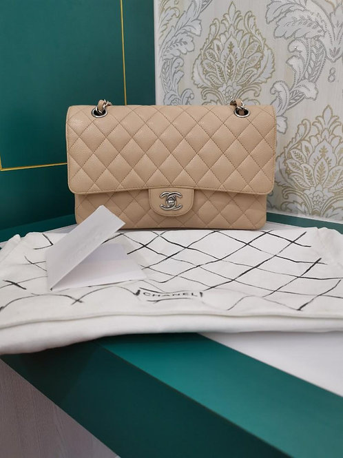 #14 Excellent Chanel Medium Classic Double Flap Beige Caviar with SHW