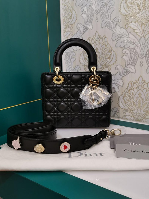 Brand New My ABCDior Lady Dior Small Black Lamb with GHW