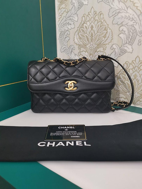 #24 Like New Chanel Coco Vintage Flap Black Lamb GHW