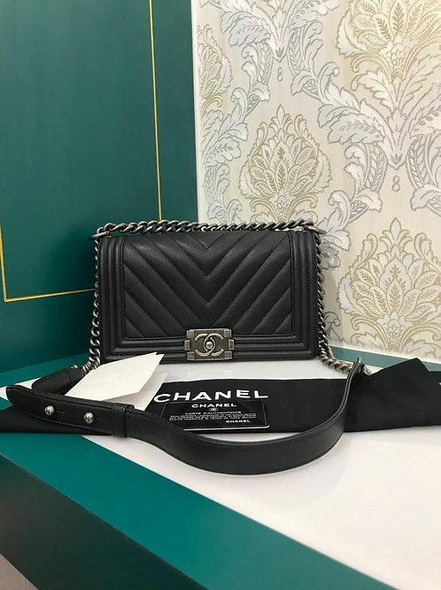 #24 Excellent condition Chanel Boy Old Medium Chevron Black Caviar with RHW