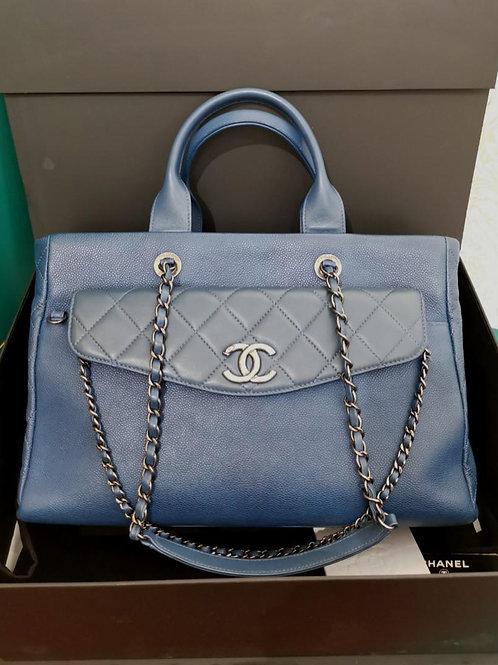 #21 Chanel Coco Break Shopping Tote Large Blue Caviar RHW
