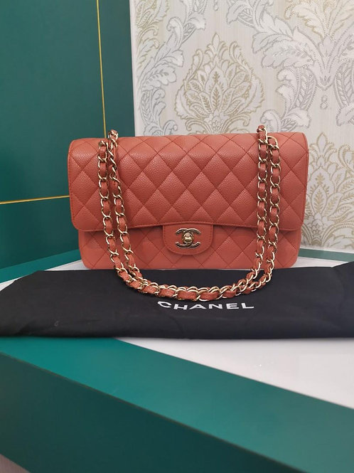 Like New Chanel Medium Classic Double Flap Coral Caviar with GHW