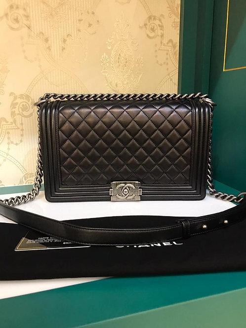 #20 Like New Chanel Boy New Medium Black Lamb RHW (Cash S$5,950)
