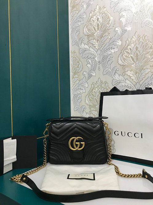 Brand New Gucci Marmont Top Handle Bag Black Calf with GHW