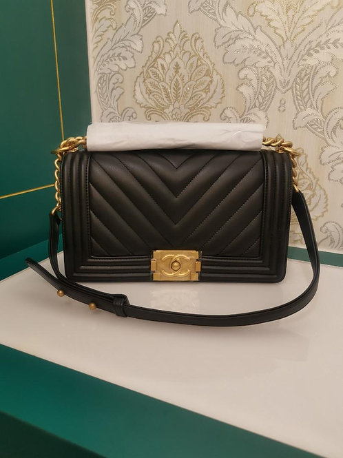 #26 BNIB Chanel Boy old medium Black Calf with GHW